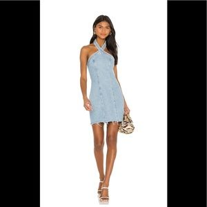 GRLFRND Vanessa Denim Halterneck Mini Dress S NWT